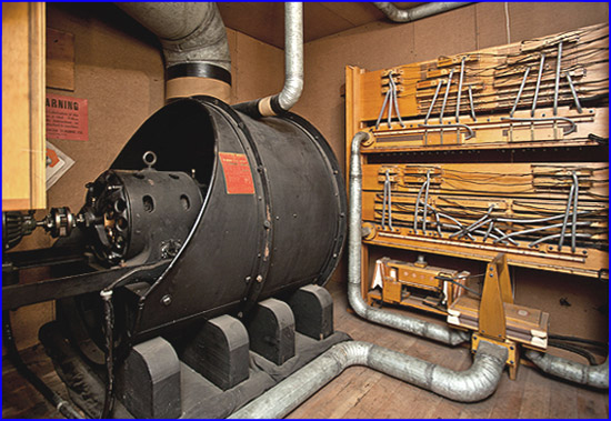 Two stage centrifugal blower for pipe organ