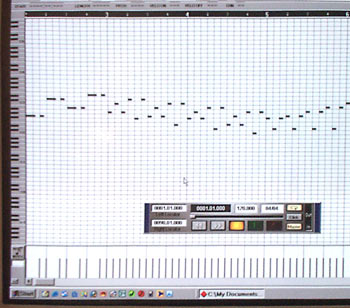 Typical MIDI music display on computer screen.